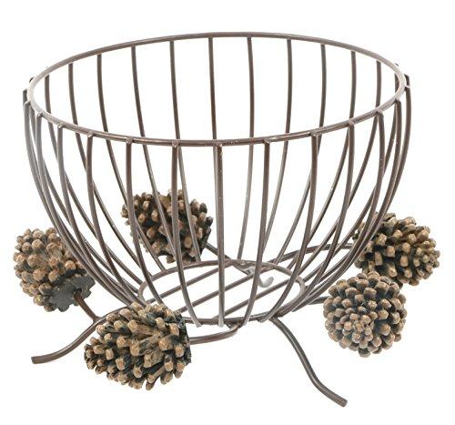 Metal Wire Pinecone Coffee Kup Keeper 8 Inch Tabletop Fruit Bowl