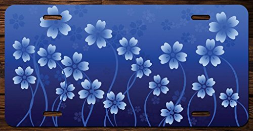 Blue and White Flowers Vanity Front License Plate Tag Printed Full Color KCFP055 (Flower License Plates)