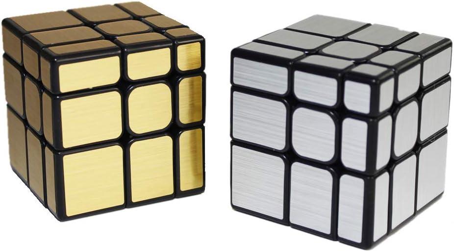 OJIN MoYu MOFANGJIAOSHI Cubing Classroom MFJS Espejo S Cube Set Espejo Block 3x3 Cube Bundle Puzzle Oro y Plata Pack de 2: Amazon.es: Juguetes y juegos