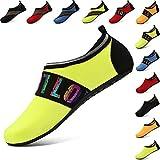 VIFUUR Water Sports Shoes Barefoot Quick-Dry Aqua Yoga Socks Slip-On For Men Women Kids LoveYellow-38/39