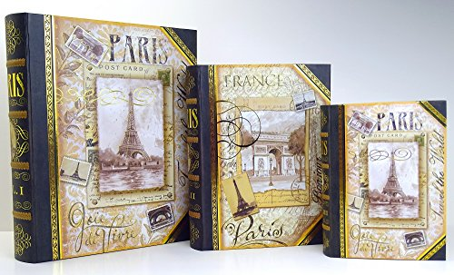 3 Pc Punch Studio Large Nesting Book Box Storage Organizer Set  Elegant Paris Eiffel Tower Gold Black