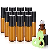 Olilia Glass Roll on Bottles with Metal Roller Balls, Essential Oils Opener included 12 Pack of 5ml (Amber)