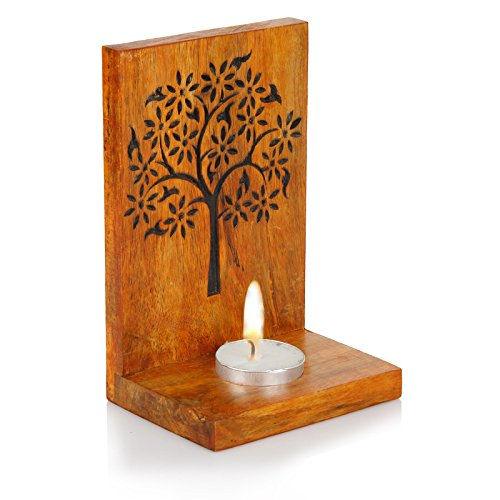 a Light Candle Holder/Wooden Candle Light Holder set/Designer Votive Candle Holder Stand/Wall & Table Decorative Candle Holders for Home Living Room & Office (Carved Altar Table)