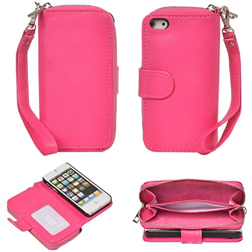 Pooqdo (TM) 2015 Newest Magnetic Zip Flip Wallet Leather Card Case Cover for Iphone 5 5g 5s (Hot Pink)