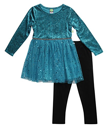 Dollie & Me Little Girls' Textured Knit to Ruffled Mesh Mini Dress with Leggings, Teal/Black, 5 ()