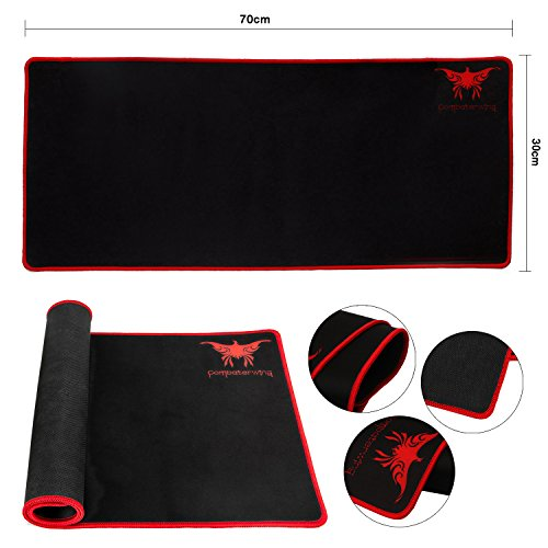 51EG3NFtyBL - Combaterwing Gaming Mouse Pad, Large Computer Wireless Mouse Mat with Stitched Edges Silky Smooth and Ultra Thick Wide Size 27.56 X 11.81 X 0.08 inches (Black)