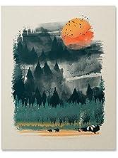 Wilderness Art Print Camping Tent Print Outdoor Nature Inspiration Poster Wilderness Wall Art Bear Print Hiking Forest Fire Home Decor 8 x 10 Inches