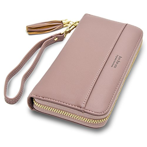 - Cyanb Women Wallets Tassel Bifold Ladies Cluth Wristlet Wrist strap Long Purse