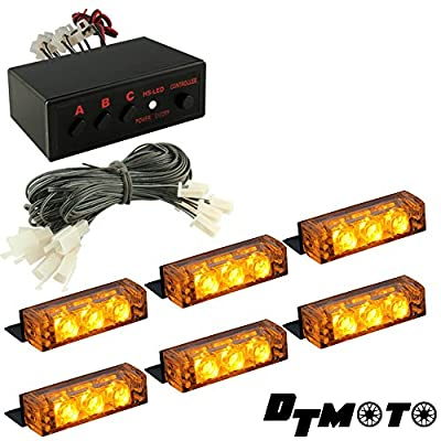 DT MOTO™ Amber 18x LED Tow Truck Construction Vehicle Warning Grille Lights - 1 set