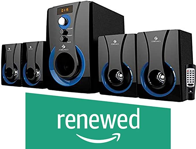 Renewed  Zebronics 4.1 Multimedia SW3490 RUCF Wired Home Audio Speaker Black, 4.1 Channel PC Speakers