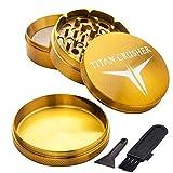 Weed Grinder - TITANIUM - GOLD - 2.5 Inch 4 Piece - Non Stick - Free Pouch & Brush - 100% FREE Refund - TITAN CRUSHER