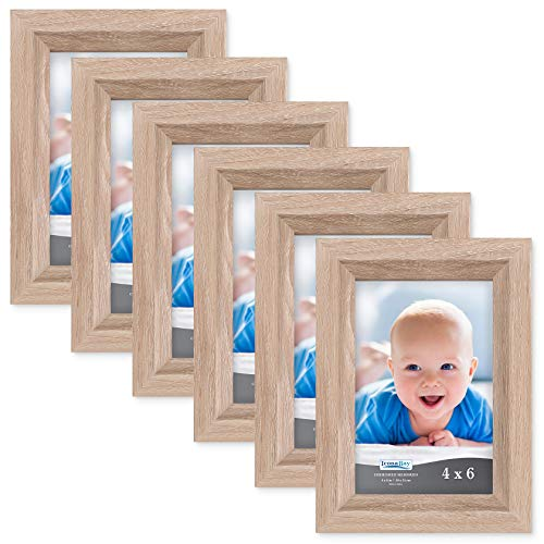 Icona Bay 4x6 Picture Frame (6 Pack, Weathered Oak Wood Finish), Photo Frame 4 x 6, Composite Wood Frame for Walls or Tables, Set of 6 Cherished Memories Collection