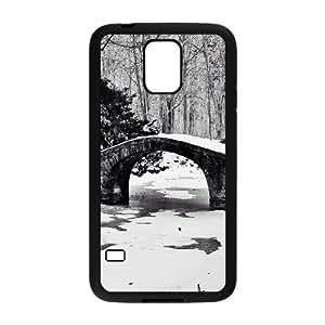 Bridge Winter Black and White Samsung Galaxy S5 Case, Shock Absorb Case Samsung Galaxy S5 Cases for Women Cheap Evekiss {Black}