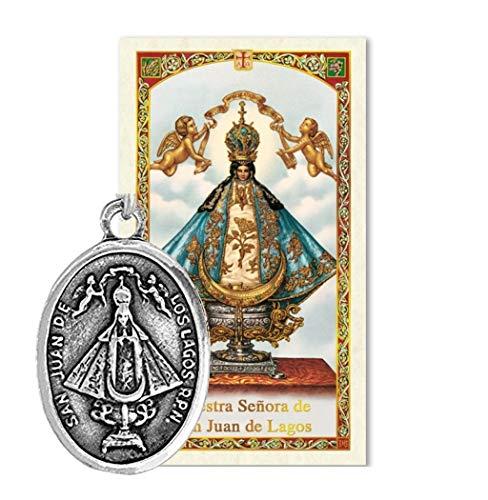 Gifts by Lulee, LLC Nuestra Senora de San Juan de Los Lagos Medalla de Plata Bendecida por Su Santidad con o sin Tarjeta de Rezo su Elección - Los Medal De Lagos