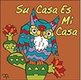 6'' x 6'' Ceramic Designer Tile SU CASA ES MI CASA OWL TERRA COTTA / BROWN BACKGROUND 7921R