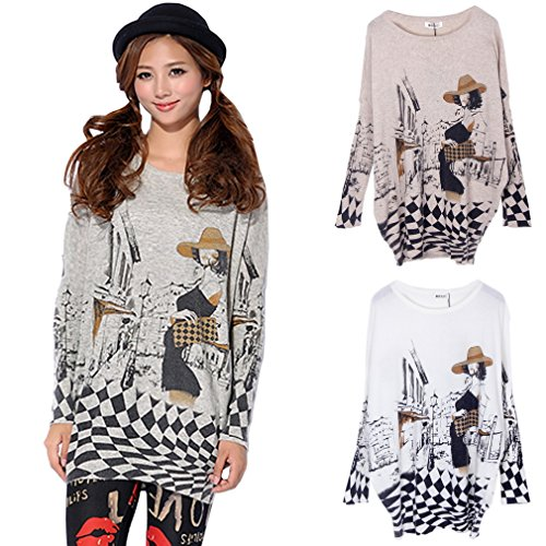 Longues Vogue Sweater Manches Ru Xiang Large Imprim Oq611a