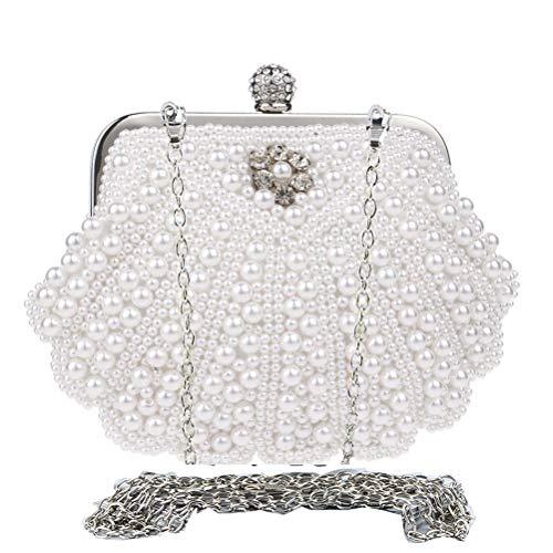 Donalworld Girl Noble Crystal Beaded Evening Bag Kiss Lock Wedding Clutch Purse White