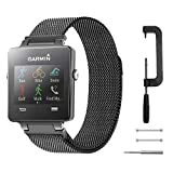 C2D JOY Milanese Stainless Steel Bands Replacement for Garmin Vivoactive with Unique Magnet Lock, No Buckle Needed, Small Black (6.1-8.1inch)