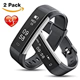 MEBUYZ 2 Pack Fitness Tracker with Heart Rate Monitor, IP67 Waterproof Activity Tracker Watch, Smart Pedometer Watch with Sleep Monitor, Step Counter for Men & Kids, Calorie Counter Watch for Women