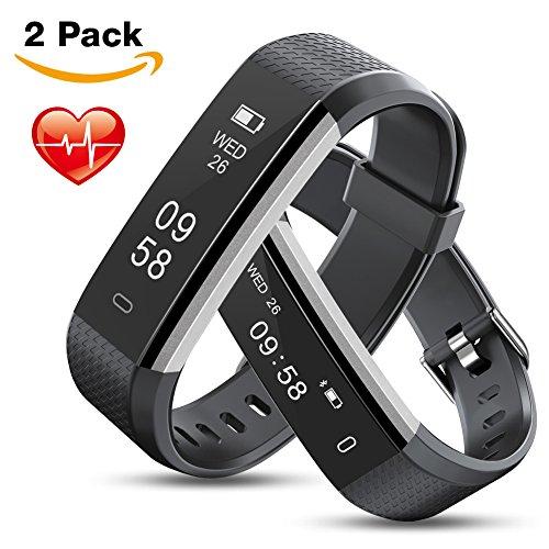 MEBUYZ [2 Pack] Fitness Tracker, Activity Tracker IP67 Waterproof Smart Bracelet Sports Wristband with Heart Rate & Sleep Monitor Pedometer Calorie Counter for Kids Women Men