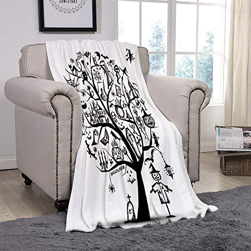 YOLIYANA Light Weight Fleece Throw Blanket/Halloween Decorations,Sketchy Spooky