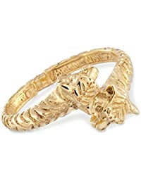 Certified Italian 14kt Yellow Gold Tiger Bypass Bangle Bracelet