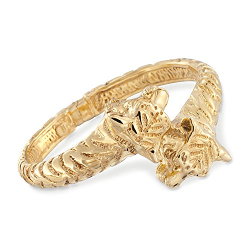 Ross-Simons Certified Italian 14kt Yellow Gold Tiger Bypass Bangle Bracelet