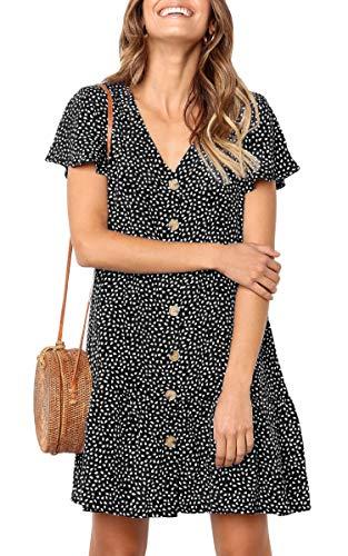 (Hibluco Women's V Neck Short Sleeve Button Front Ruffle Loose Tunic Thin Summer Dress Black)