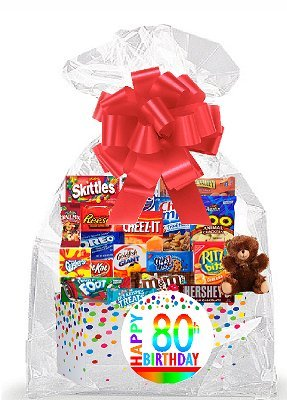 CakeSupplyShop Item#080BSG Happy 80th Birthday Rainbow Thinking Of You Cookies, Candy & More Care Package Snack Gift Box Bundle Set - Ships FAST!