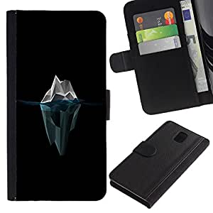 LASTONE PHONE CASE / Lujo Billetera de Cuero Caso del tirón Titular de la tarjeta Flip Carcasa Funda para Samsung Galaxy Note 3 III N9000 N9002 N9005 / Polygon Iceberg