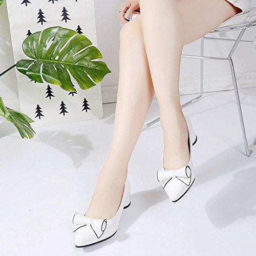 HRCxue Sweet Bow Tie einzelne Schuhe Halbschuhe mit professionelle der Spitze des Grob professionelle mit Arbeit Schuhe Frauen Schuhe 40 2e2930