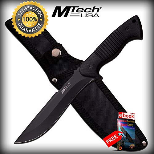 FIXED BLADE COMBAT SHARP KNIFE Mtech 11'' Black Blade Full Tang Wood Military Tactical Combat Tactical Knife + eBOOK by Moon Knives