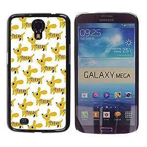 Perro de perrito del Dachshund mascotas Mostaza blanca - Metal de aluminio y de plástico duro Caja del teléfono - Negro - Samsung Galaxy Mega 6.3