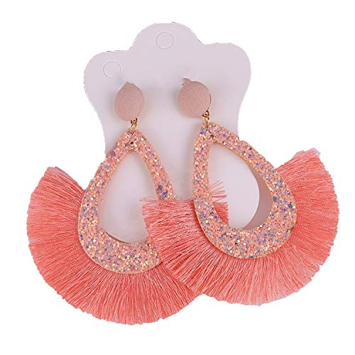 Luccaful New fashion tassel sequins ladies earrings 2019 bohemian style geometric personality party fashion jewelry yellow,4