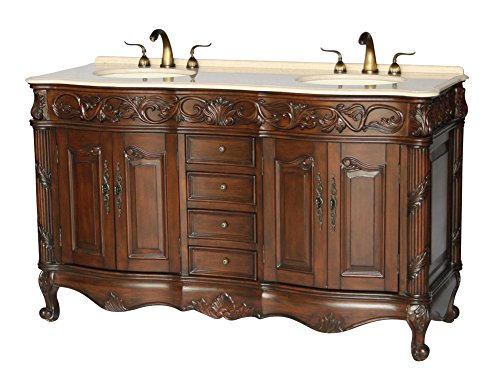 60-Inch Antique Style Double Sink Bathroom Vanity Model 7760-BE by Chinese Arts, Inc