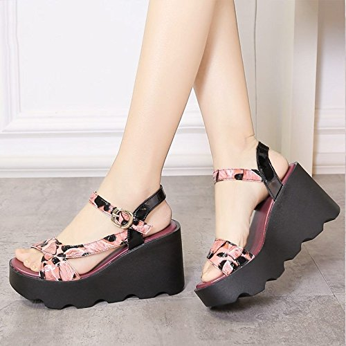 Xing Lin Ladies Sandals Summer New Thick-Bottomed High-Heeled Sandals Women Casual Breathable Patent Leather Women'S Shoes Red stone pattern ujrtXGfGR