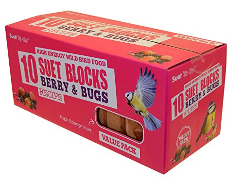 Suet To Go Berry and Bugs Suet Block Wild Bird Treat, 10 x 300 g
