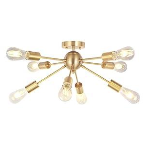 VINLUZ 8 Light Sputnik Chandelier Light Fixtures Deeper Brass Semi Flush Mount Ceiling Light Modern Pendant Lighting Mid-Century Starburst Style Ceiling Lamp For Kitchen Room Bedroom Dining Room Foyer