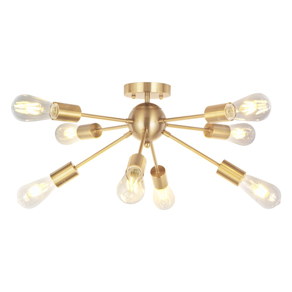 VINLUZ 8 Lights Sputnik Chandelier Light Fixtures Deeper Gold Semi Flush Mount Ceiling Light Modern Pendant Lighting Mid-Century Starburst Style Ceiling Lamp For Kitchen Room Bedroom Dining Room Foyer