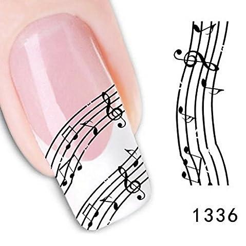 Hot Sale! 4PCS Melody Nail Art Sticker Black White Stave Lace Fingernail DIY Decoration Nail Decals Manicure Foil Makeup Tool Nail Adhesive - Turtle Lacquer