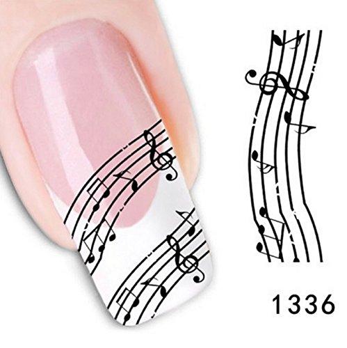 Hot Sale! 4PCS Melody Nail Art Sticker Black White Stave Lace Fingernail DIY Decoration Nail Decals Manicure Foil Makeup Tool Nail Adhesive Tapes