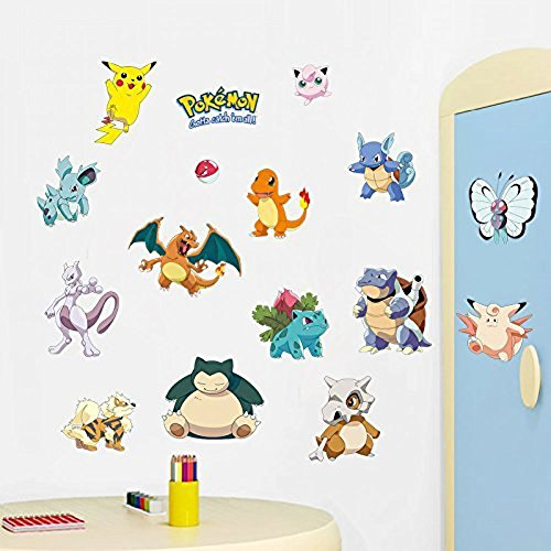 IPAI Techmac Pokémon Wall Stickers, Peel and Stick, Pikachu/Charmander/Bulbasaur/Snorlax (Design 1)