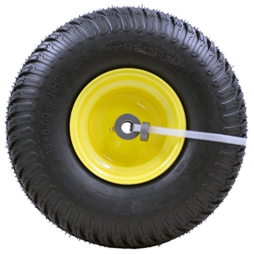 "MARASTAR 15x6.00-6"" Front Tire Assembly Replacement for 100 and 300 Series John Deere Riding Mowers - 2 pack"
