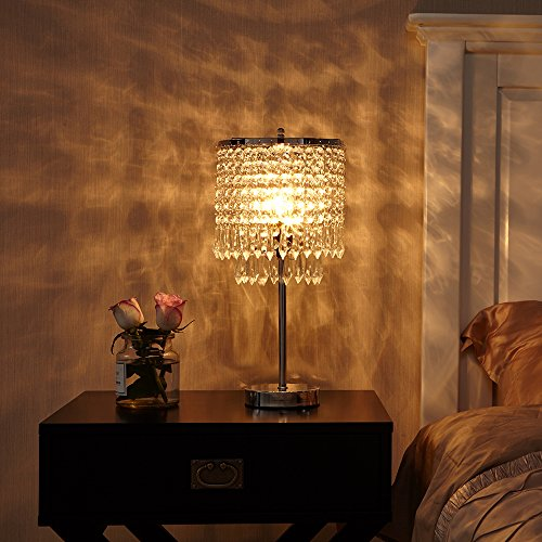 POPILION Creative Fashion Design Bedroom Bedside Crystal Table Lamp,Hand Picked Crystal Photo #4