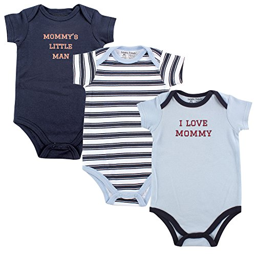 Luvable Friends Bodysuits (3 Packs), Boy Mommy, 6-9 Months