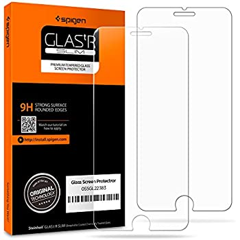 Spigen iPhone 8 Plus Screen Protector Tempered Glass / Case Friendly / 2 Pack for Apple iPhone 8 Plus