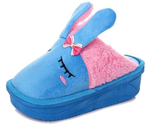 Blubi Women's Warm Bunny Shoes Animal Slippers (8.5, Blue)