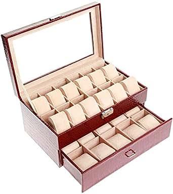 22 Piece Leather Watch Organizer Case - Brown [15X22PWBRED]
