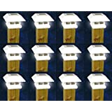 12 White New Outdoor Garden Solar Panel Post Deck Cap Light