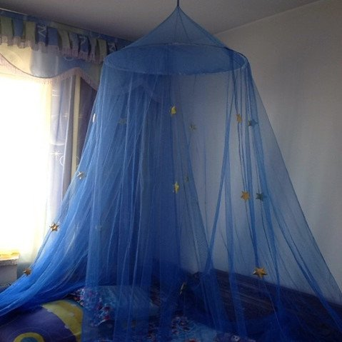 Comfort Blue Star Dreamy Children Hanging Lace Mosquito Net Canopy Curtain